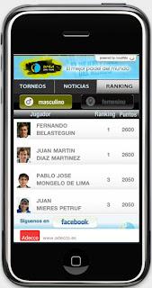 Aplicacion iPhone del Padel Pro Tour