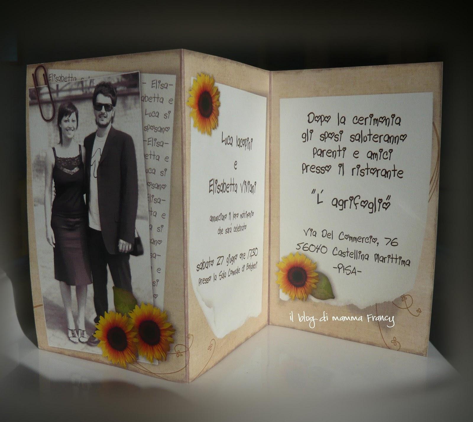 Inviti Matrimonio Girasoli : Il di mamma francy partecipazioni