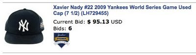 xavier nady yankees game-used memorabilia hat