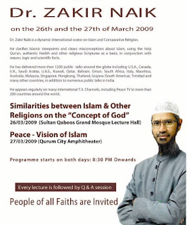 Zakir Naik (orator) program on 26th. & 27th. March 2009 as per