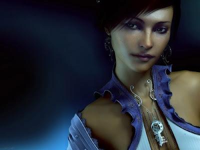 Girl in Blue Wallpaper