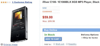 iRiver's 8GB E100 PMP Now Avialble for $59