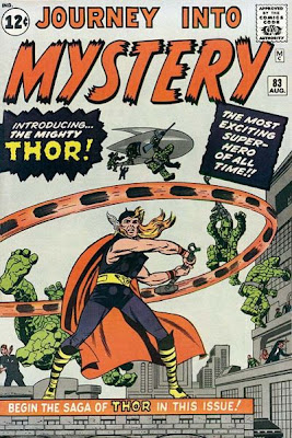 Journey into Mystery #83, Thor swings his hammer has he is surrounded by the descending Stone Men from Saturn, first appearance and origin, Jack Kirby