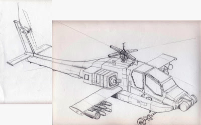 how to draw a apache helicopter