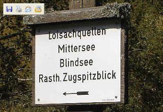 Wegwijzer richting Blindsee