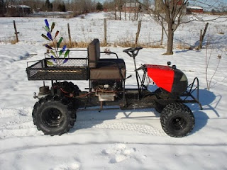 I started this homemade utility vehicle with the lawnmower. It was a good winter project. I cut the frame and lengthened it by 2 feet.