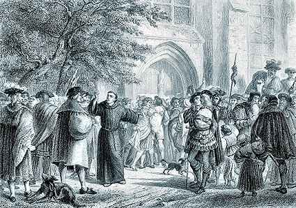 Martin Luther nails his 95 theses to the church door at Wittenberg
