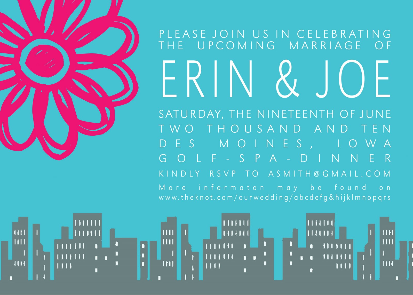 This Summer I Was Honored To Be Asked Design A Couple Invitations For Erin Joes Upcoming Wedding Here Is Their Bachelor Bachelorette Party Invite