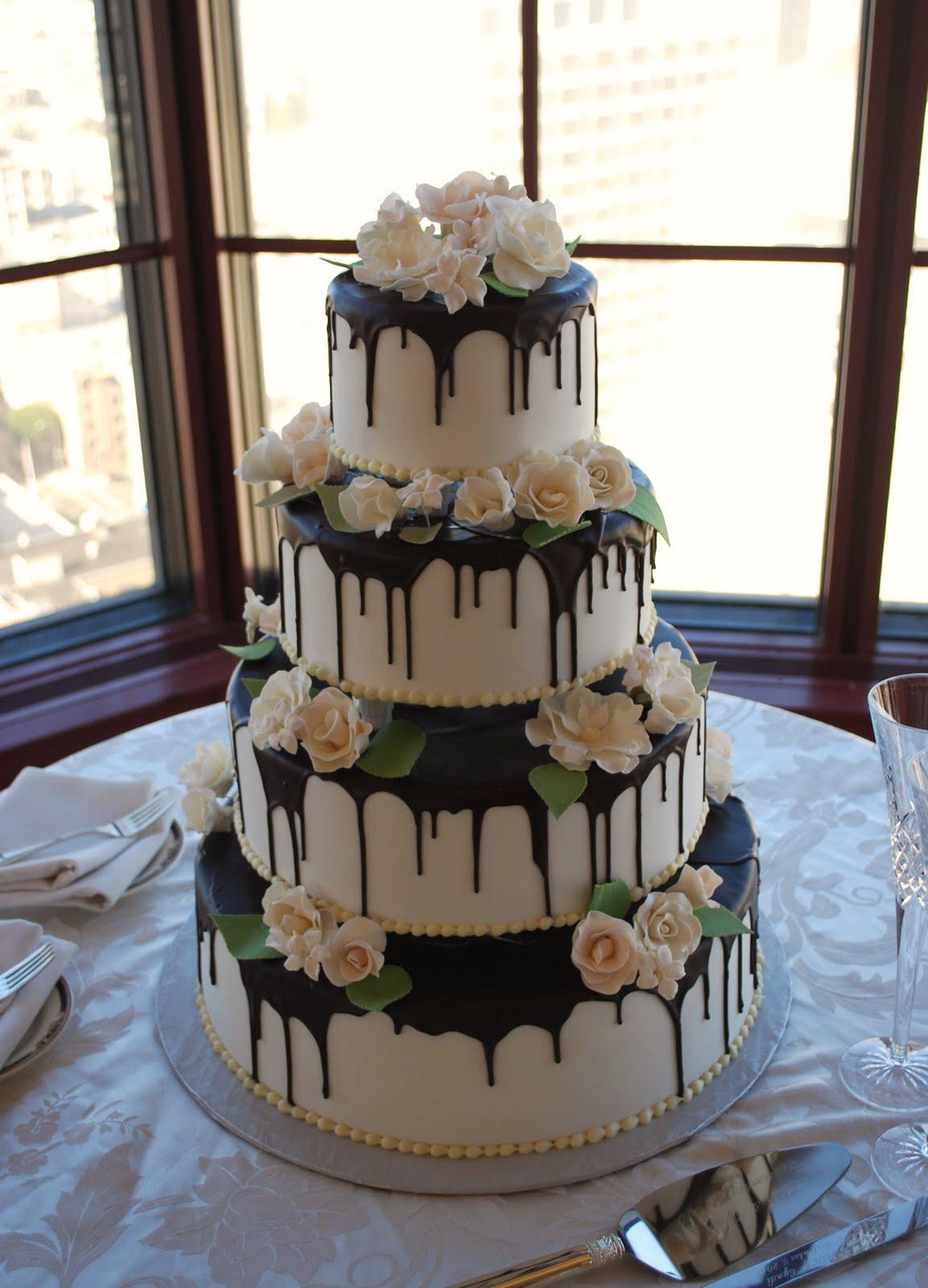 The Beehive Chocolate Ganache White Rose Cake