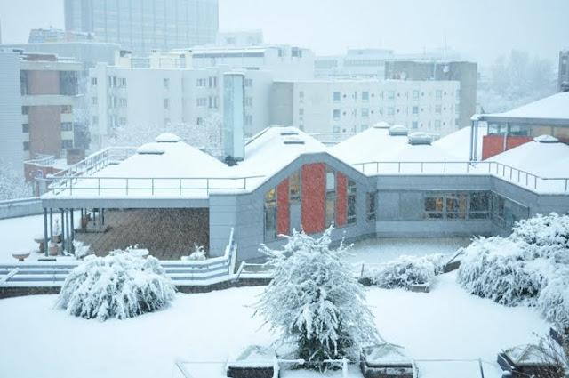 Evry daily photo la gare routi re sous la neige for Vu de ma fenetre