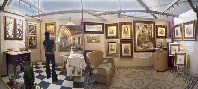 fresco demonstration at the celebration of fine art tent in scottsdale, arizona