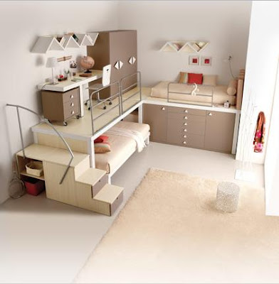 creative idea to deal with a small bed room. Black Bedroom Furniture Sets. Home Design Ideas