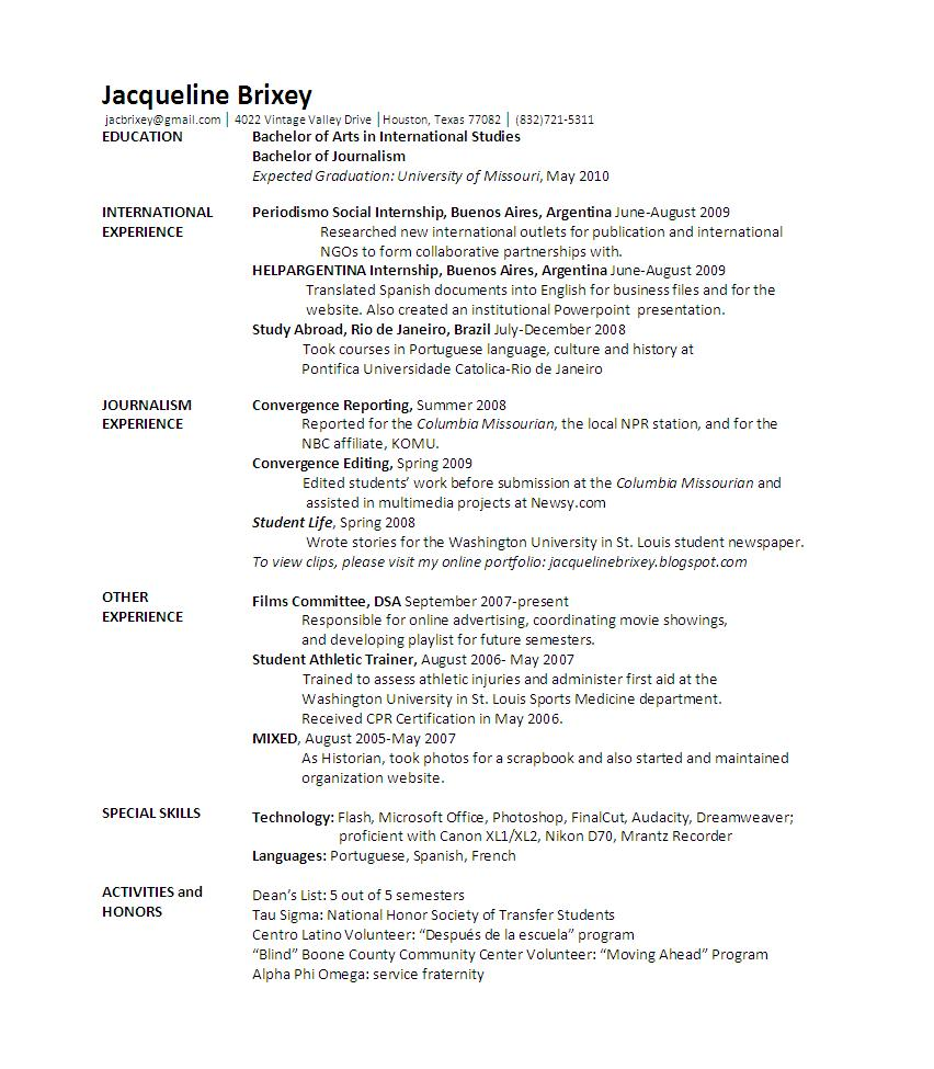 general resume double major resume cover letter and resume samples