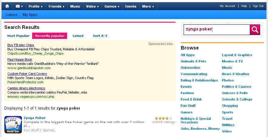 Myspace poker