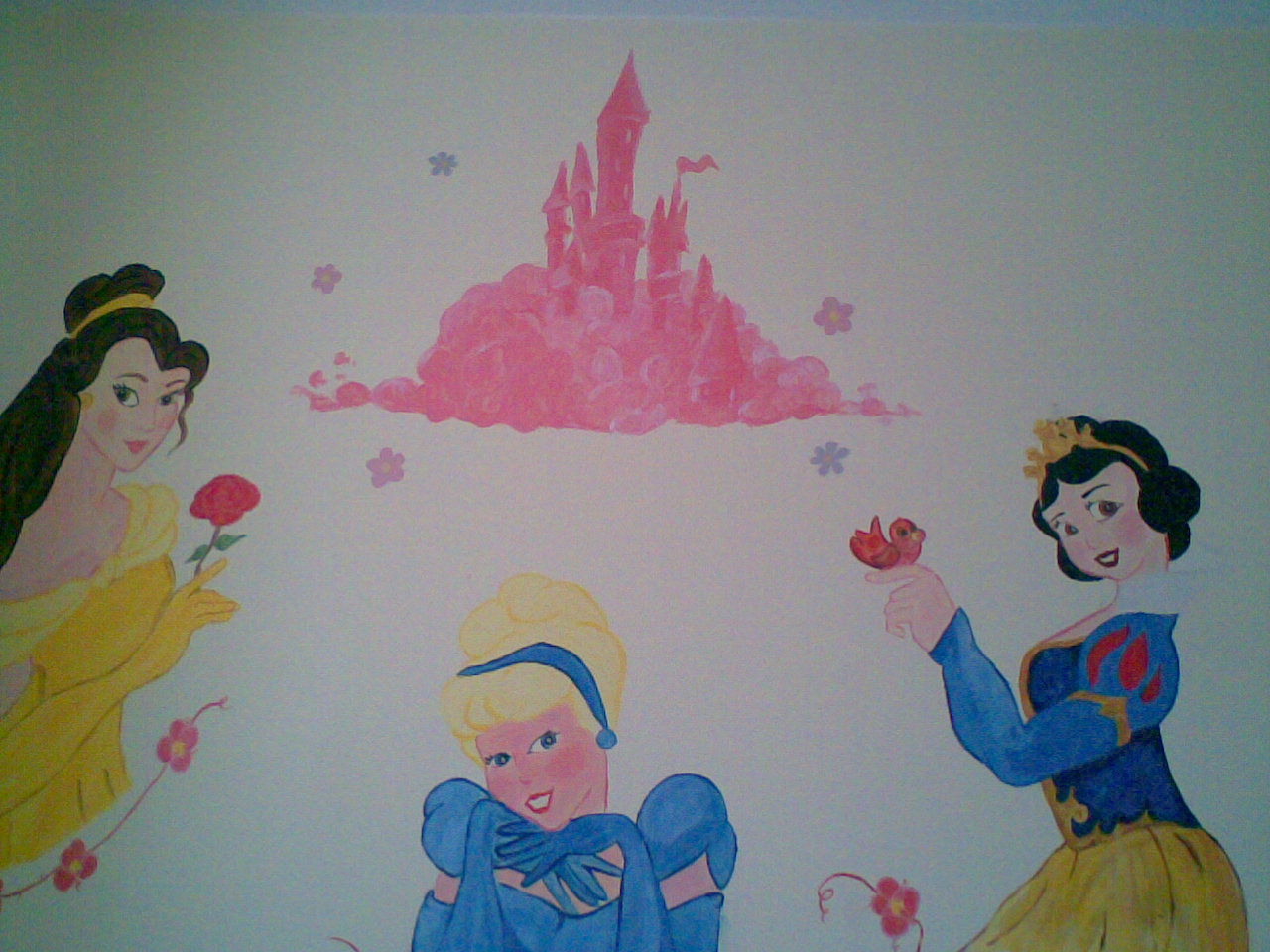 Crazy kidz murals girls mural disney princess for Disney princess mural asda