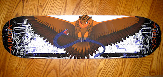 skateboard design, owl and snake