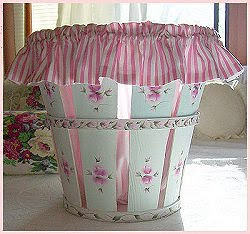 Hand Painted Bushel Basket with Candy Striped Liner