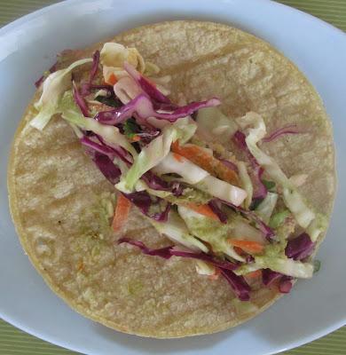 "Crispy ""fish"" tacos with cabbage slaw and spicy tomatillo cilantro ..."