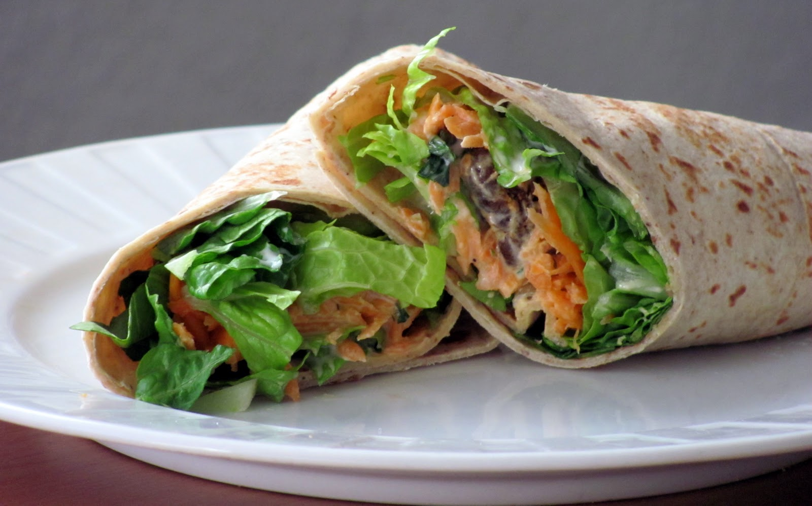 "Little House of Veggies: Spicy Buffalo ""chicken"" wraps with Ranch"