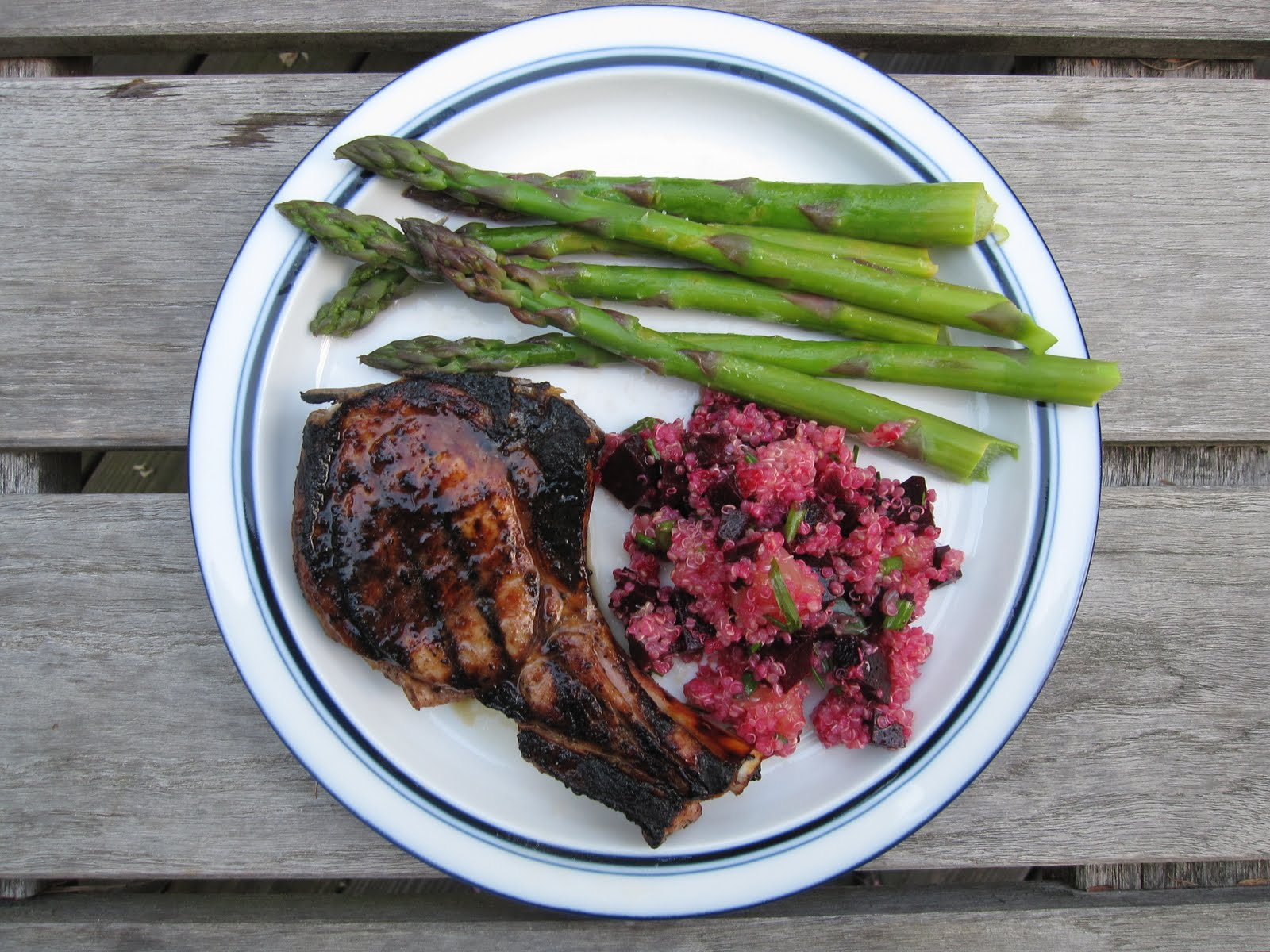 pork chops asparagus beets quinoa grapefruit
