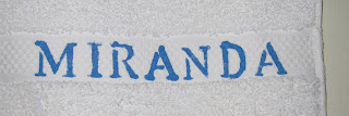 towel stenciled with name