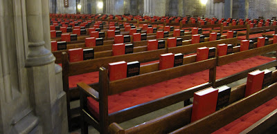 hymnals in the chapel