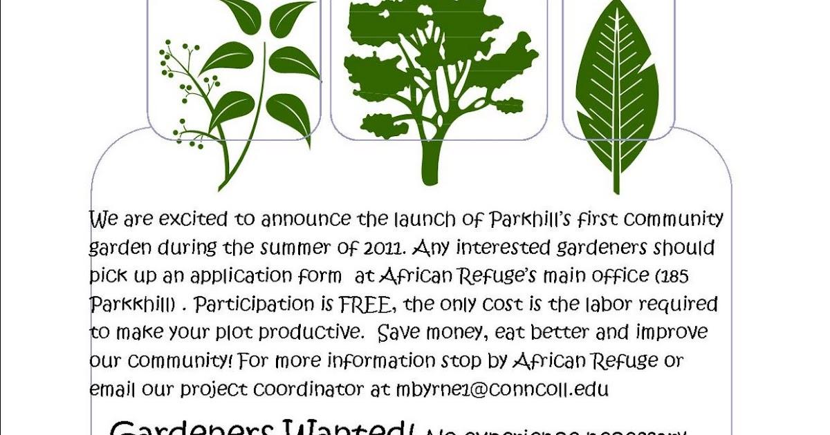 Roots of Peace Community Garden Project Garden Flyer