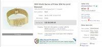Screenshot of T.J. Cloutier's WSOP Bracelet Ebay Auction