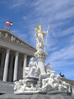 The statue of Athena in front of the Austrian Parliament