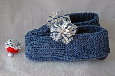 hand-knitted slippers and finger pincushion from Carole