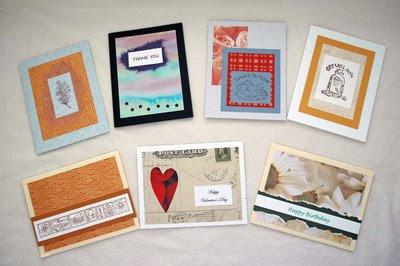 assortment of handmade cards