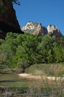 white mountain peaks are seen looking north along the Virgin River