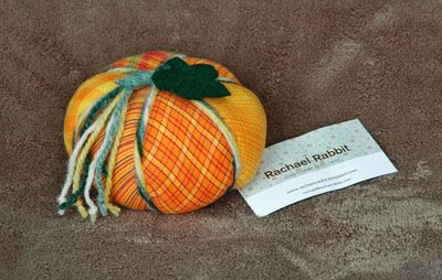 pretty patchwork pumpkin pincushion from Rachael - try to say that quickly 3 times in a row!