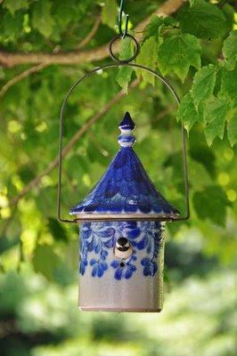 Eldreth Pottery salt-glazed pottery birdhouse