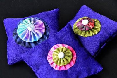 lavender sachets with yo-yo embellishment