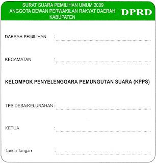 Stiker Warna Penanda Surat Suara DPRD Kabupaten Pemilu 2009