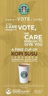 Gratis Starbucks Coffee di Pilpres 8 July 2009