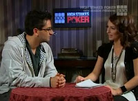 Kara Scott interviewing Antonio Esfandiari on 'High Stakes Poker'