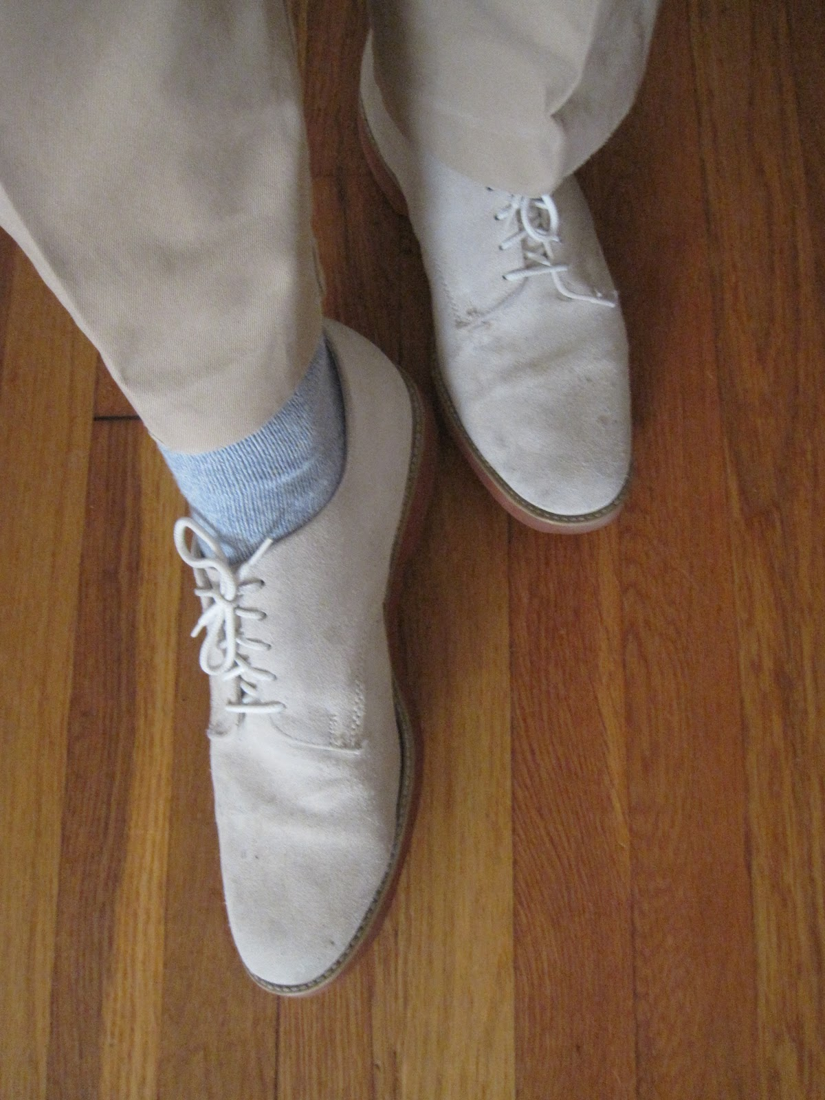 an affordable wardrobe white suede and grey tweed an