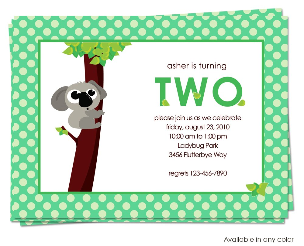 Belle Announces: Koala Bear Birthday Invitation