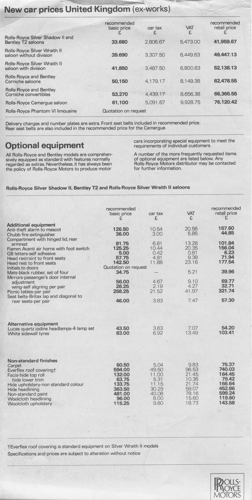 BENTLEY SPOTTING: Rolls-Royce price list April 1980: www.bentleyspotting.com/2010/06/rolls-royce-price-list-april-1980.html