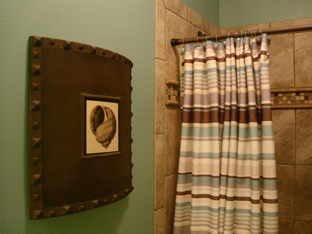 Teal Brown Bathroom