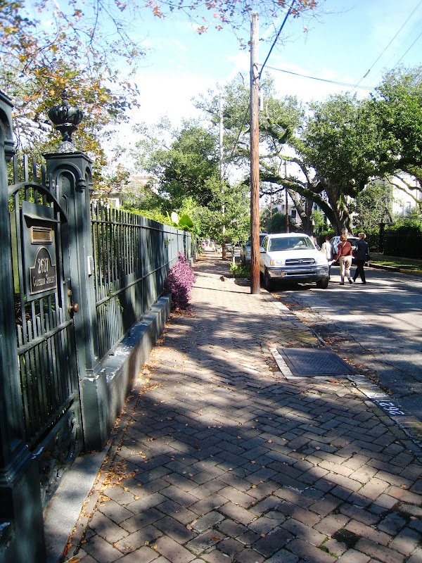 View of street outside Sandra Bullock's Victorian home in the Garden District of New Orleans