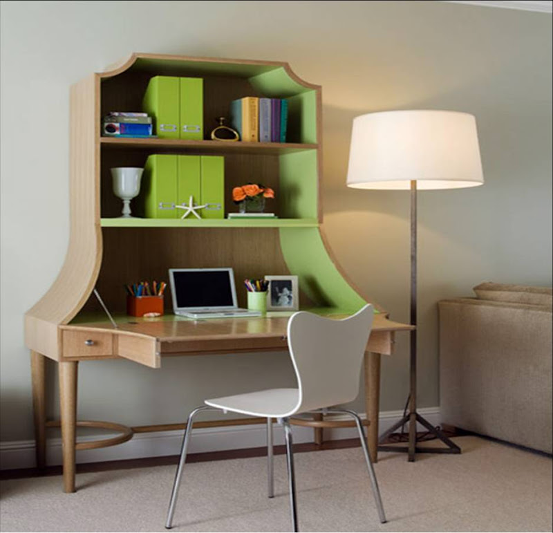 Coddington+design+wood+desk+hutch+green+interior
