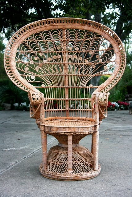 Vintage wicker peacock chair