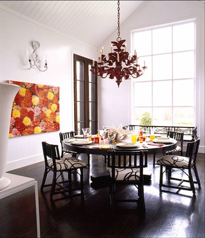 Dining Room With Iron Tole Red Chandelier Large Round Table Dining