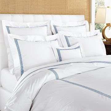 Classic Greek key bedding from William Sonoma Home