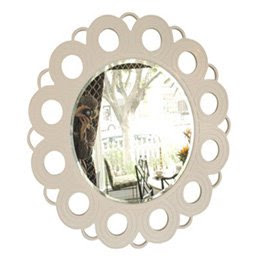 Hand carved and painted round white mirror from Wandrlust