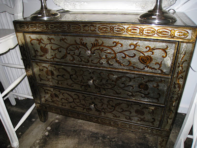 Hand painted metal dresser with/lacquer finish from Pom Pom Interiors