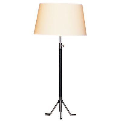Leather desk lamp with a white lamp shade from Croft & Little